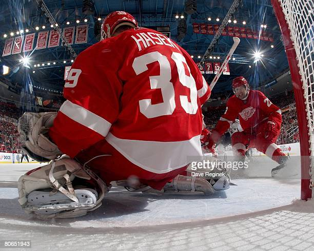 Goaltender Dominik Hasek of the Detroit Red Wings defends the goal against the Nashville Predators during game one of the 2008 NHL conference...