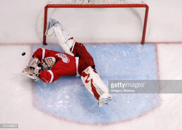 Goaltender Dominik Hasek of the Detroit Red Wings makes a diving save on the shot from the Anaheim Ducks during the first period of game two of the...
