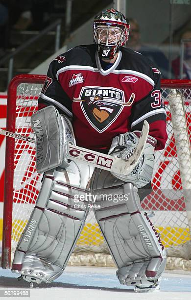Goaltender Dustin Slade of the Vancouver Giants in action against the Prince George Cougars during the WHL hockey game on September 30 2005 at...