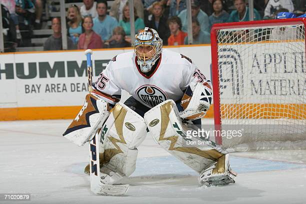 Goaltender Dwayne Roloson of the Edmonton Oilers readies for a shot during game five of the Western Conference Semifinals against the San Jose Sharks...