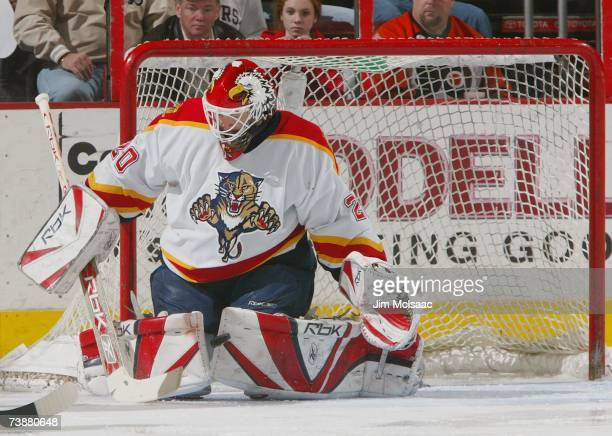 Goaltender Ed Belfour of the Florida Panthers makes a pad save against the Philadelphia Flyers during their NHL game on March 20 2007 at the Wachovia...
