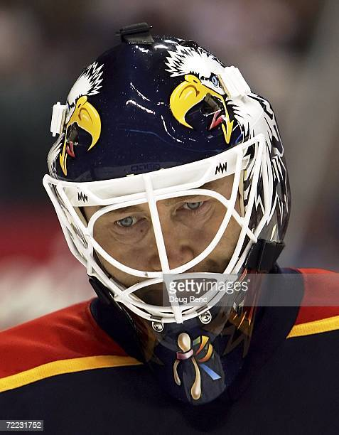 Goaltender Ed Belfour of the Florida Panthers skates on the ice during a stoppage in play against the Philadelphia Flyers at Bank Atlantic Center on...