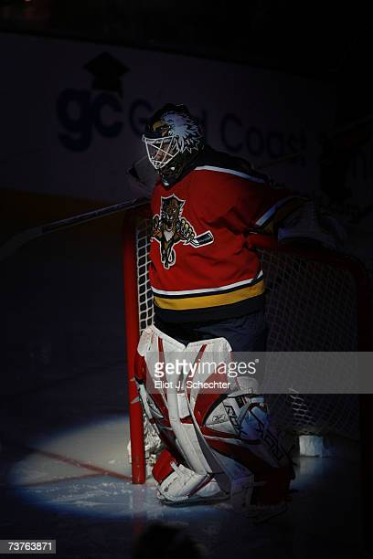 Goaltender Ed Belfour of the Florida Panthers takes a moment to him self before the start of the game against the Carolina Hurricanes at the Bank...