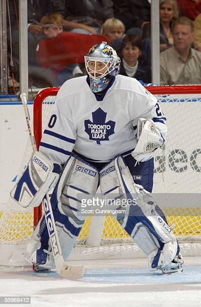 Goaltender Ed Belfour of the Toronto Maple Leafs watches the puck during the NHL game against the Atlanta Thrashers on October 14 2005 at Philips...