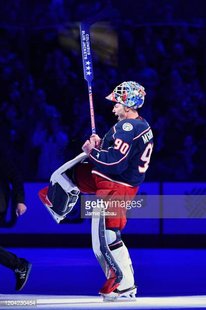 Goaltender Elvis Merzlikins of the Columbus Blue Jackets celebrates a shutout against the Florida Panthers on February 4 2020 at Nationwide Arena in...