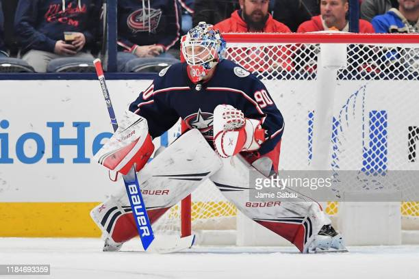 Goaltender Elvis Merzlikins of the Columbus Blue Jackets defends the net against the Edmonton Oilers on October 30 2019 at Nationwide Arena in...