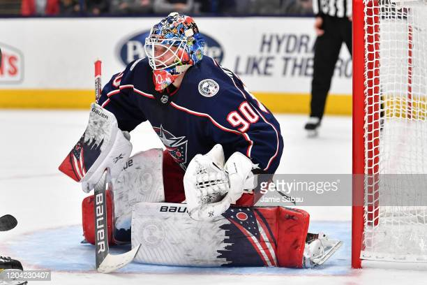 Goaltender Elvis Merzlikins of the Columbus Blue Jackets defends the net against the Florida Panthers on February 4 2020 at Nationwide Arena in...