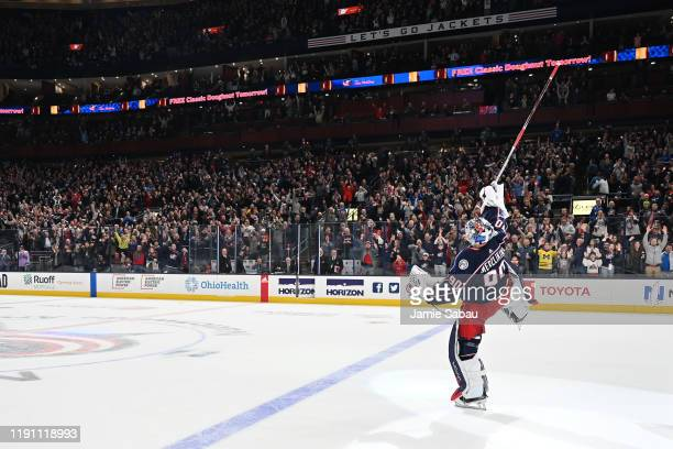 Goaltender Elvis Merzlikins of the Columbus Blue Jackets reacts following a 41 victory over the Florida Panthers in a game on December 31 2019 at...