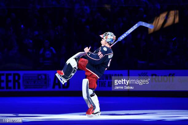 Goaltender Elvis Merzlikins of the Columbus Blue Jackets reacts after being named first star of the game following a 50 shutout victory over the New...
