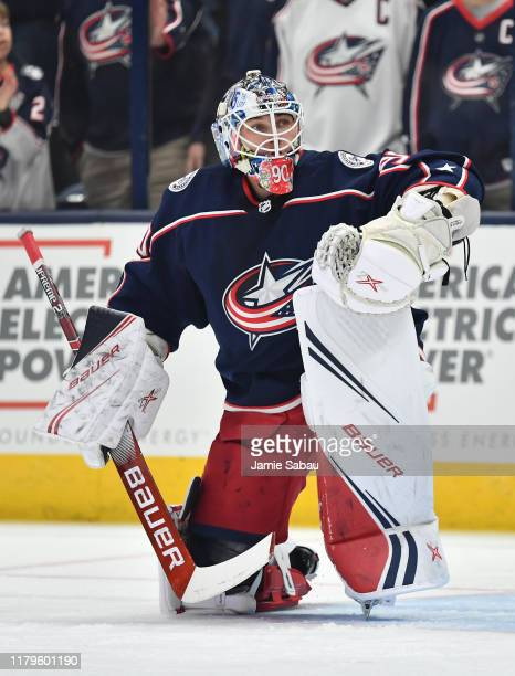 Goaltender Elvis Merzlikins of the Columbus Blue Jackets warms up before a game against the Toronto Maple Leafs on October 4 2019 at Nationwide Arena...