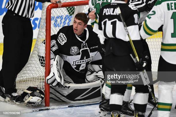 Goaltender Emile Samson of the BlainvilleBoisbriand Armada looks on from inside his net after being hit against the ValdOr Foreurs during the QMJHL...