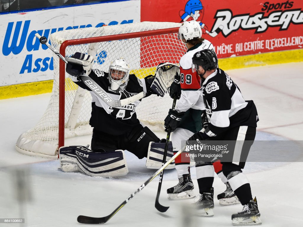 Goaltender Emile Samson #37 of the Blainville-Boisbriand Armada makes a save against the Halifax Mooseheads during the QMJHL game at Centre d'Excellence Sports Rousseau on October 20, 2017 in Boisbriand, Quebec, Canada. The Halifax Mooseheads defeated the Blainville-Boisbriand Armada 4-2.