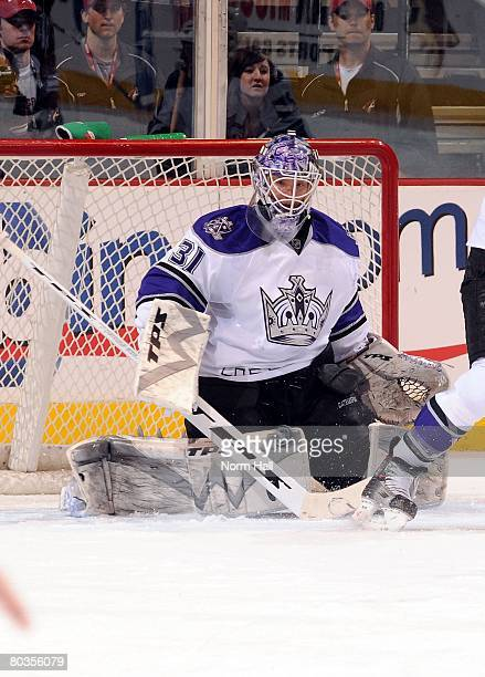 Goaltender Erik Ersberg of the Los Angeles Kings makes a pad save against the Phoenix Coyotes on March 20 2008 at Jobingcom Arena in Glendale Arizona