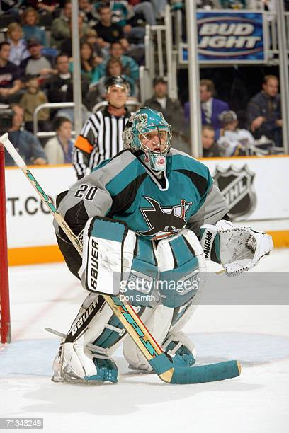 Goaltender Evgeni Nabokov of the San Jose Sharks follows the action during a game against the St. Louis Blues on December 23, 2005 at the HP Pavilion...