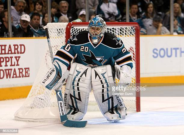 Goaltender Evgeni Nabokov of the San Jose Sharks in goal against the Anaheim Ducks during Game Five of the Western Conference Quarterfinal Round of...