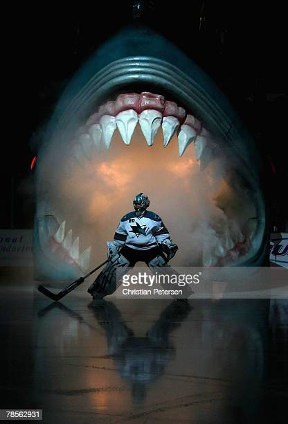 Goaltender Evgeni Nabokov of the San Jose Sharks skates out onto the ice for the NHL game against the Anaheim Ducks at HP Pavilion on December 18...
