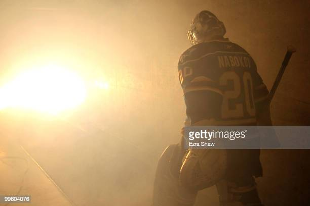 Goaltender Evgeni Nabokovof the San Jose Sharks steps onto the ice before taking on the Chicago Blackhawks in Game One of the Western Conference...