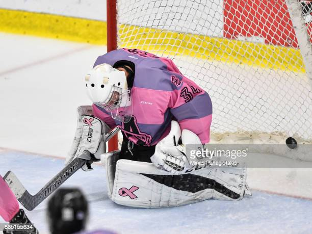 Goaltender Francis Leclerc of the BlainvilleBoisbriand Armada allows a goal in overtime against the Quebec Remparts during the QMJHL game at Centre...