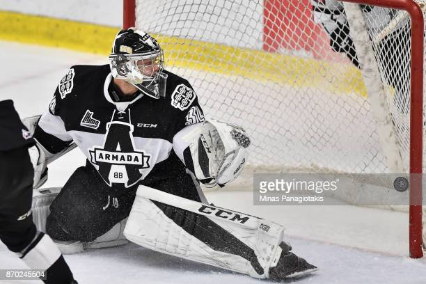 Goaltender Francis Leclerc of the BlainvilleBoisbriand Armada allows a goal in overtime against the Gatineau Olympiques during the QMJHL game at...