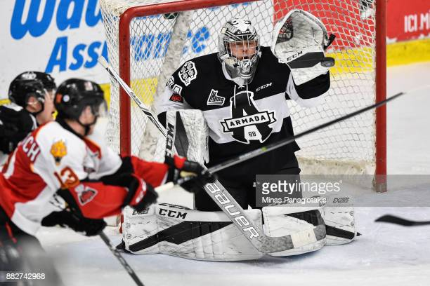 Goaltender Francis Leclerc of the BlainvilleBoisbriand Armada gets the glove up to stop the puck against the BaieComeau Drakkar during the QMJHL game...