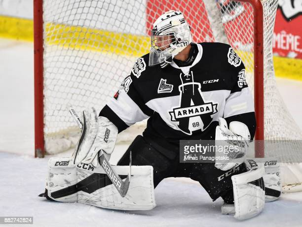 Goaltender Francis Leclerc of the BlainvilleBoisbriand Armada protects his net against the BaieComeau Drakkar during the QMJHL game at Centre...