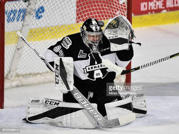 Goaltender Francis Leclerc of the BlainvilleBoisbriand Armada makes a save against the Gatineau Olympiques during the QMJHL game at Centre...