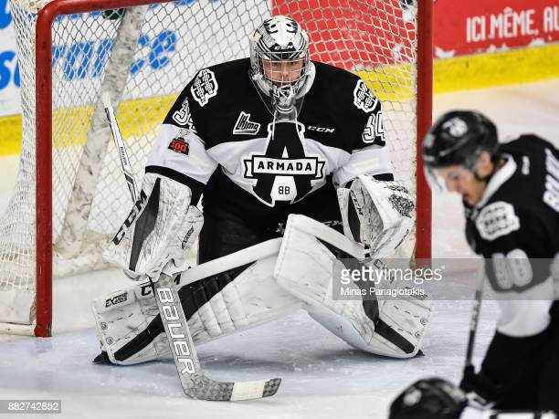 Goaltender Francis Leclerc of the BlainvilleBoisbriand Armada remains focused against the BaieComeau Drakkar during the QMJHL game at Centre...