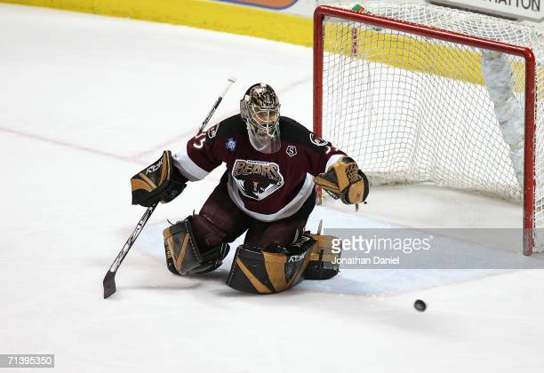 Goaltender Frederic Cassivi of the Hershey Bears makes a stop against the Milwaukee Admirals during game six of the AHL Calder Cup Finals on June 15,...