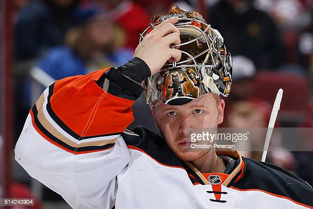 Goaltender Frederik Andersen of the Anaheim Ducks during the NHL game against the Arizona Coyotes at Gila River Arena on March 3 2016 in Glendale...