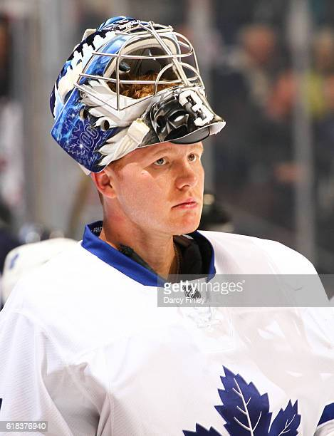 Goaltender Frederik Andersen of the Toronto Maple Leafs looks on during a first period stoppage in play against the Winnipeg Jets at the MTS Centre...