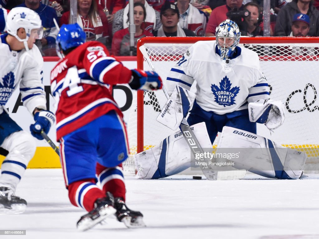 Goaltender Frederik Andersen #31 of the Toronto Maple Leafs prepares to make a save on a shot by Charles Hudon #54 of the Montreal Canadiens during the NHL game at the Bell Centre on October 14, 2017 in Montreal, Quebec, Canada. The Toronto Maple Leafs defeated the Montreal Canadiens 4-3 in overtime.