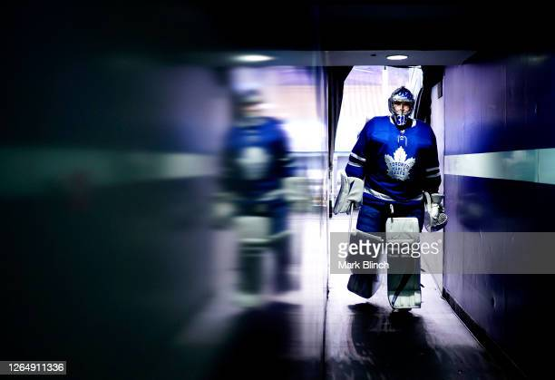 Goaltender Frederik Andersen of the Toronto Maple Leafs walks down the hallway after warming up before Game Five of the Eastern Conference...