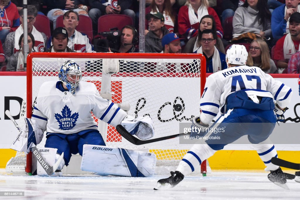 Goaltender Frederik Andersen #31 of the Toronto Maple Leafs watches the puck against the Montreal Canadiens during the NHL game at the Bell Centre on October 14, 2017 in Montreal, Quebec, Canada. The Toronto Maple Leafs defeated the Montreal Canadiens 4-3 in overtime.
