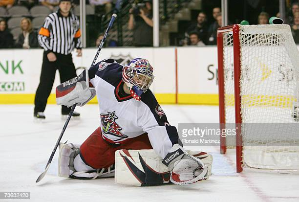 Goaltender Fredrik Norrena of the Columbus Blue Jackets makes a save on the Dallas Stars during their NHL game on March 2, 2007 at the American...