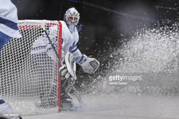 Goaltender Garret Sparks of the Toronto Maple Leafs defends the net against the Columbus Blue Jackets on December 28 2018 at Nationwide Arena in...
