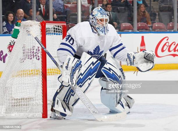 Goaltender Garret Sparks of the Toronto Maple Leafs defends the net against the Florida Panthers at the BBT Center on January 18 2019 in Sunrise...