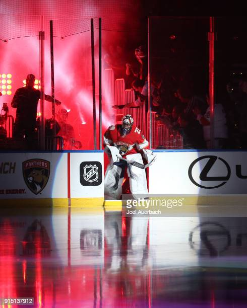 Goaltender Harri Sateri of the Florida Panthers leads the team onto the ice for their game against the Vancouver Canucks at the BBT Center on...