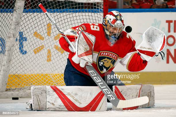 Goaltender Harri Sateri of the Florida Panthers warms up on the ice prior to the start of the game against the Colorado Avalanche at the BBT Center...