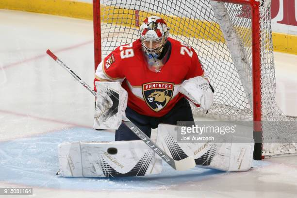 Goaltender Harri Sateri of the Florida Panthers warms up prior to the game against the Vancouver Canucks at the BBT Center on February 6 2018 in...