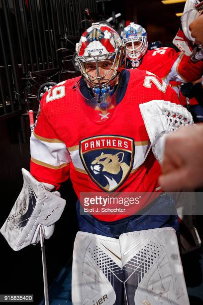 Goaltender Harri Satori of the Florida Panthers heads out to the ice for warm ups against the Vancouver Canucks at the BBT Center on February 6 2018...
