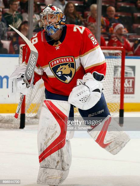 Goaltender Harri Säteri of the Florida Panthers skates the ice during warm ups against the Minnesota Wild at the BBT Center on December 22 2017 in...