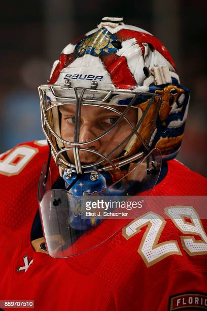 Goaltender Harri Säteri of the Florida Panthers stretches on the ice prior to the start of the game against the Winnipeg Jets at the BBT Center on...