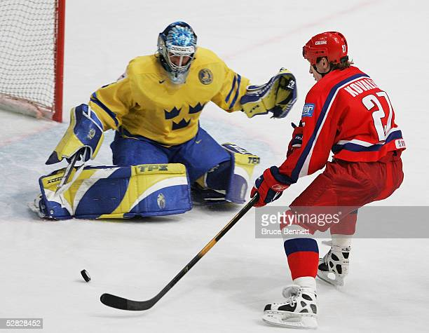 Goaltender Henrik Lundqvist of Sweden stops a shot by Alexei Kovalev of Russia in the IIHF World Men's Championships bronze medal game at Wiener...