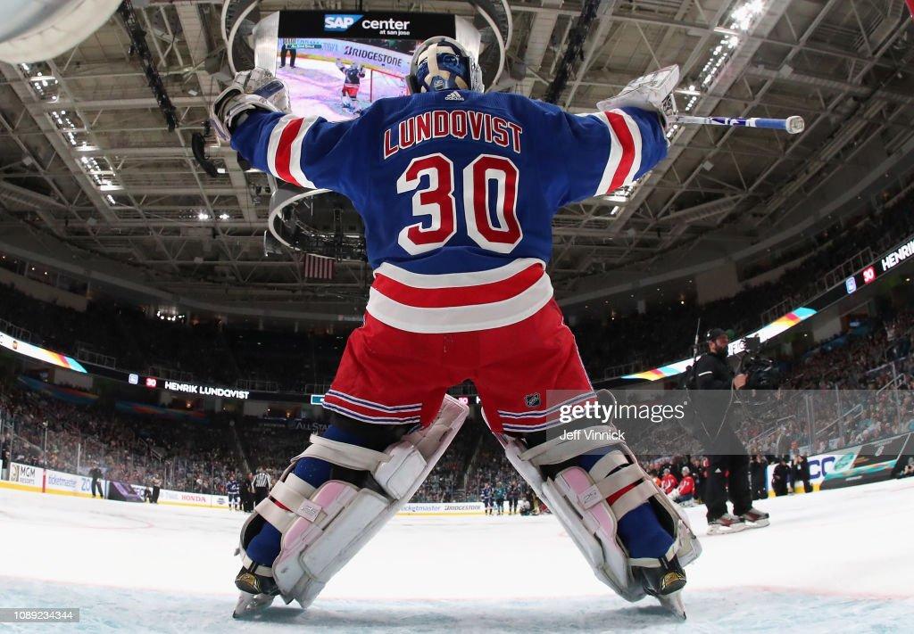 Goaltender Henrik Lundqvist Of The New York Rangers Celebrates After