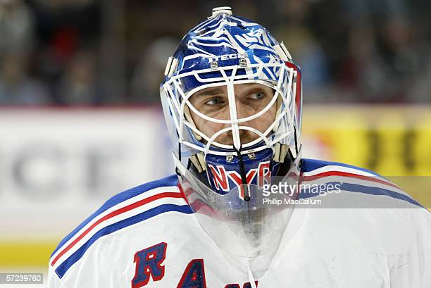 Goaltender Henrik Lundqvist of the New York Rangers looks on during the game against the Ottawa Senators on March 30, 2006 at the Scotiabank Place in...