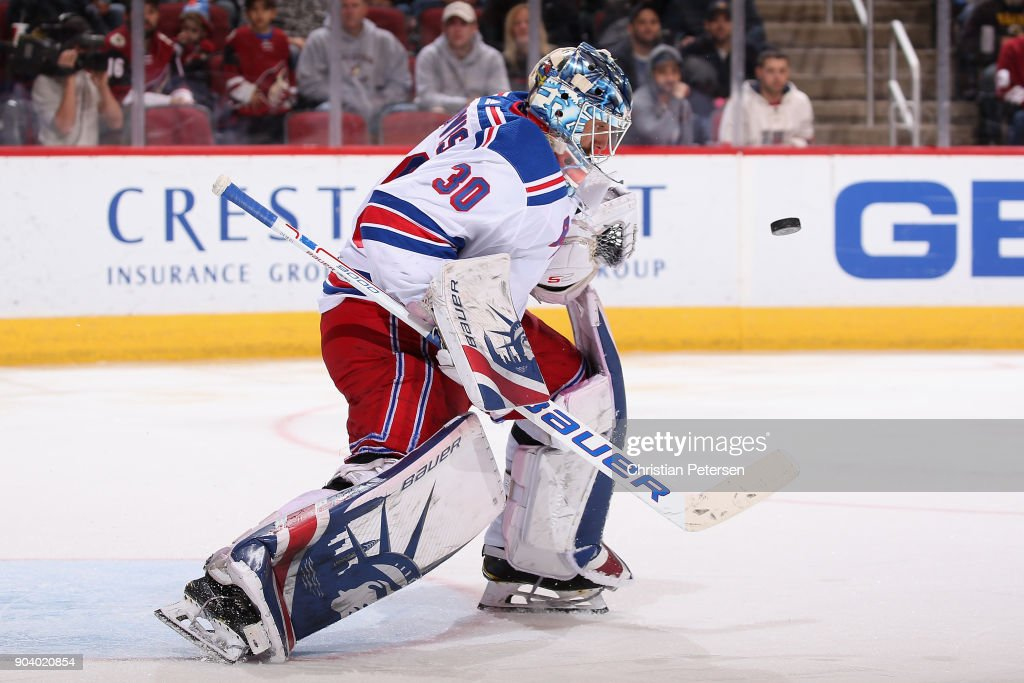 Goaltender Henrik Lundqvist #30 of the New York Rangers makes a save on a shot during the NHL game against the Arizona Coyotes at Gila River Arena on January 6, 2018 in Glendale, Arizona.