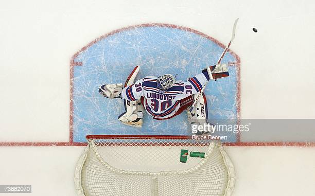 Goaltender Henrik Lundqvist of the New York Rangers makes a save against the New York Islanders during their NHL game on April 3 2007 at Nassau...