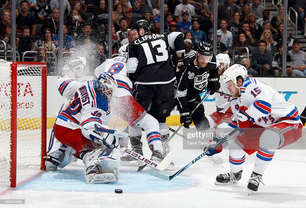 Goaltender Henrik Lundqvist #30 of the New York Rangers makes a toe save against the Los Angeles Kings during overtime of Game Two of the 2014 Stanley Cup Final at Staples Center on June 7, 2014 in Los Angeles, California.