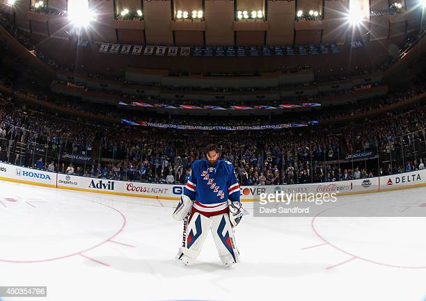 Goaltender Henrik Lundqvist of the New York Rangers on the ice before taking on the Los Angeles Kings in Game Three of the 2014 Stanley Cup Final at...
