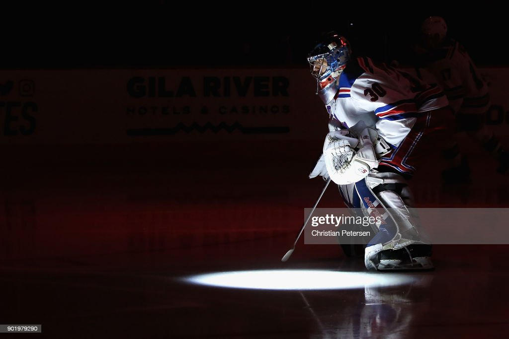 Goaltender Henrik Lundqvist #30 of the New York Rangers skates onto the ice before the NHL game against the Arizona Coyotes at Gila River Arena on January 6, 2018 in Glendale, Arizona.